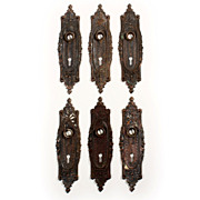 Amazing Antique Cast Iron Door Backplates with Sunburst Design