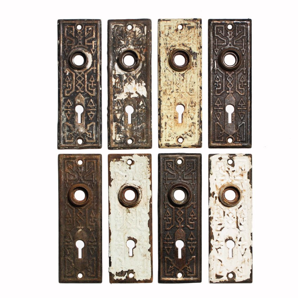 Roll over Large image to magnify, click Large image to zoom - Playful Antique Door Plates With Geometric Design, C. 1880's From