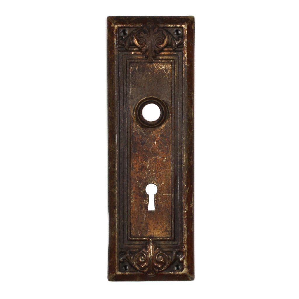 antique arts crafts door plates with leaf design from preservationstation on ruby lane. Black Bedroom Furniture Sets. Home Design Ideas