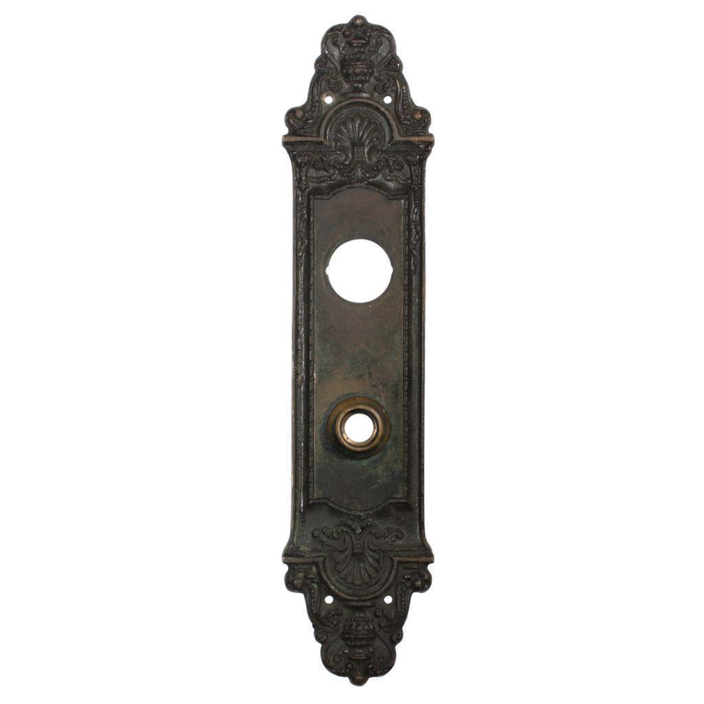 """Gorgeous Antique Cast Bronze """"Fenmore"""" Entry Backplate by Reading, c. 1910"""
