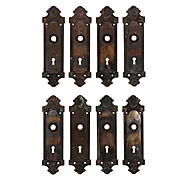 Antique Cast Iron Door Backplates, Early 1900s
