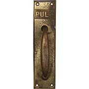 "Antique Cast Brass ""PULL"" Handle, Early 1900s"