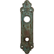 """Antique Entry Backplate, """"Navarro"""" by Yale, c. 1910"""