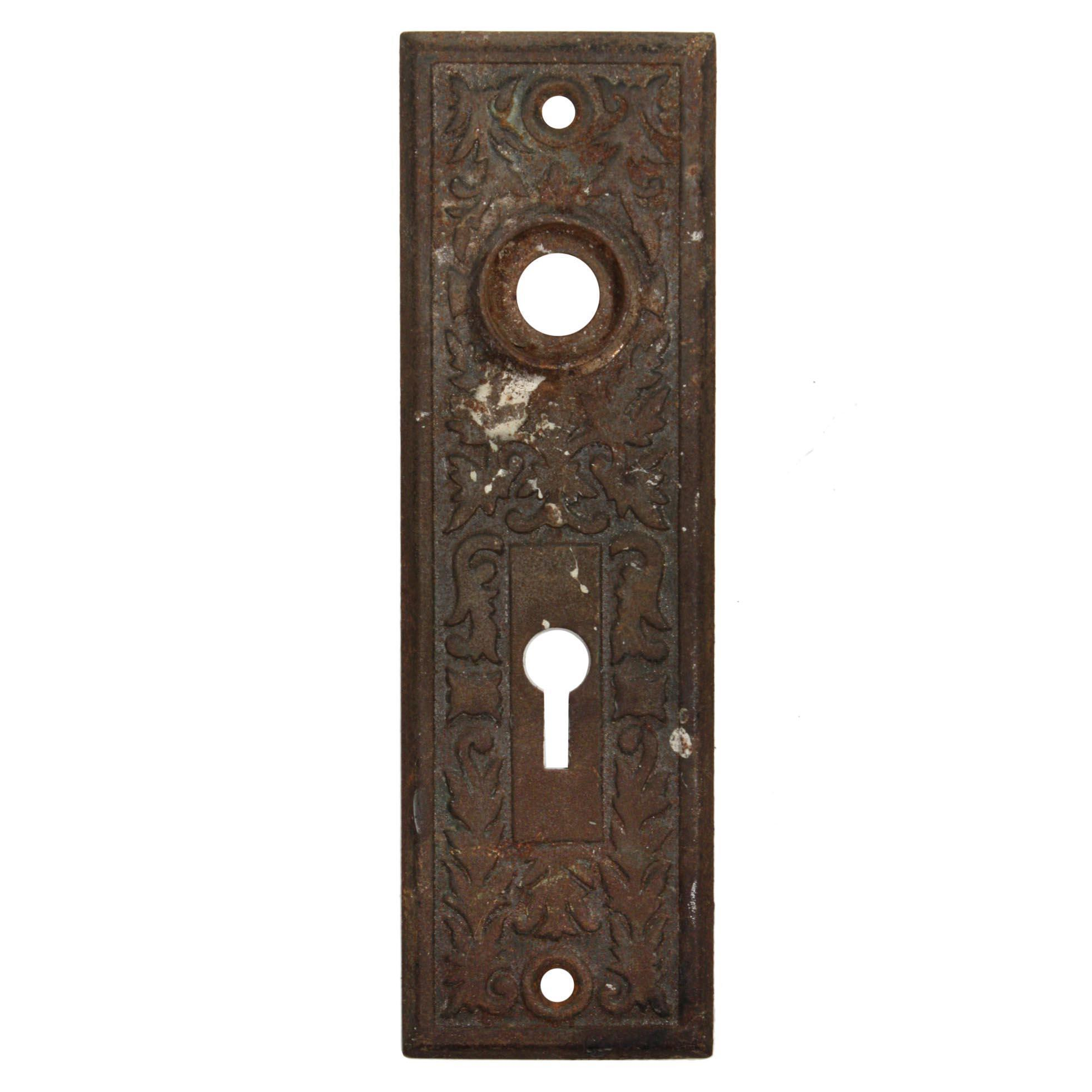 Antique Eastlake Doorplates with Leaves, Late 19th Century