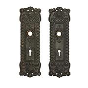 Antique Neoclassical Doorplate Pair in Bronze, Early 1900s
