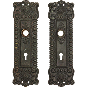 Antique Neoclassical Doorplate Pair in Bronze, Early 1900s