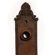 "Antique Cast Iron ""Geneva"" Door Plates, Barrows Lock Co., Early 1900's"