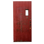"Antique 36"" Exterior Plank Door with Small Window, Early 1900s"