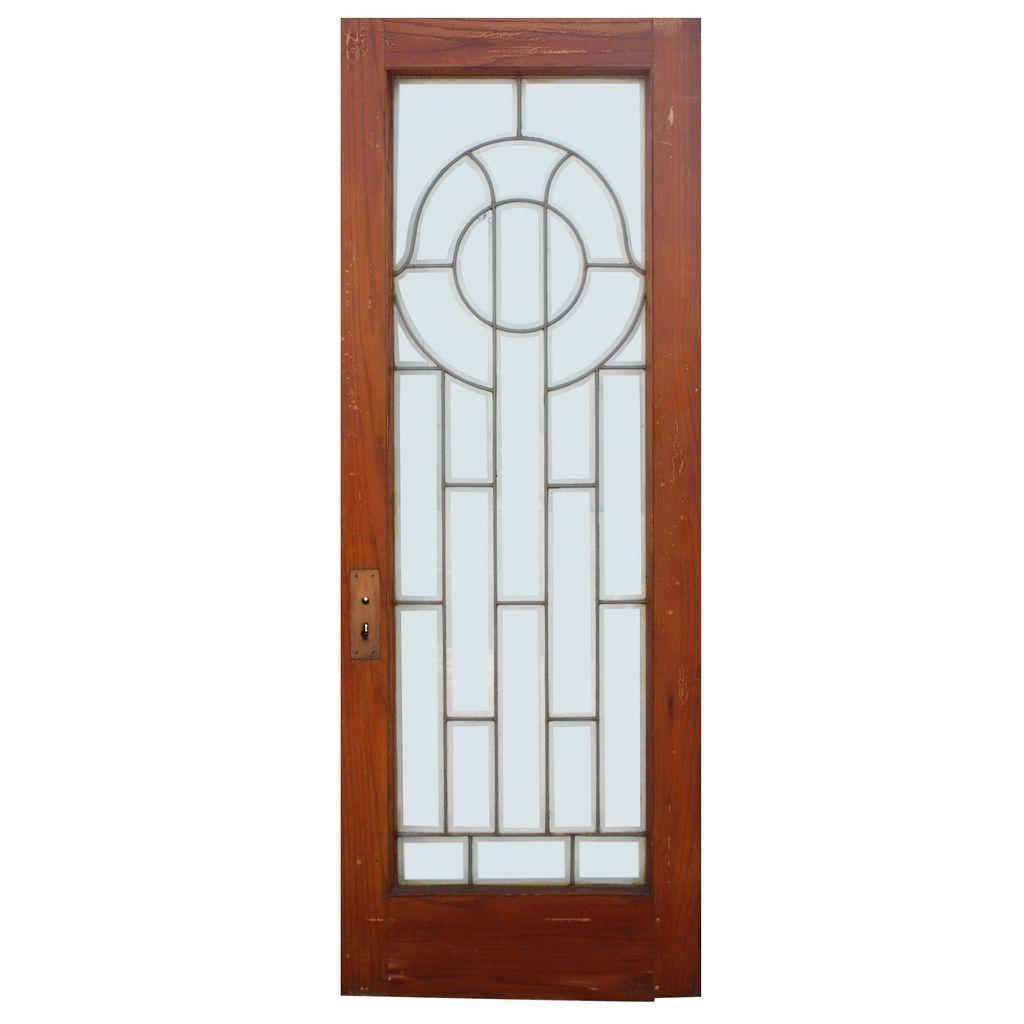 "Beautiful 30"" Salvaged Door with Leaded and Beveled Glass"