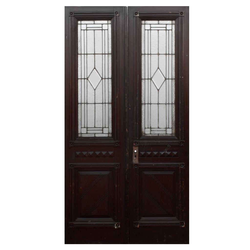 Splendid Pair of Reclaimed Doors with Leaded Glass, c. 1890