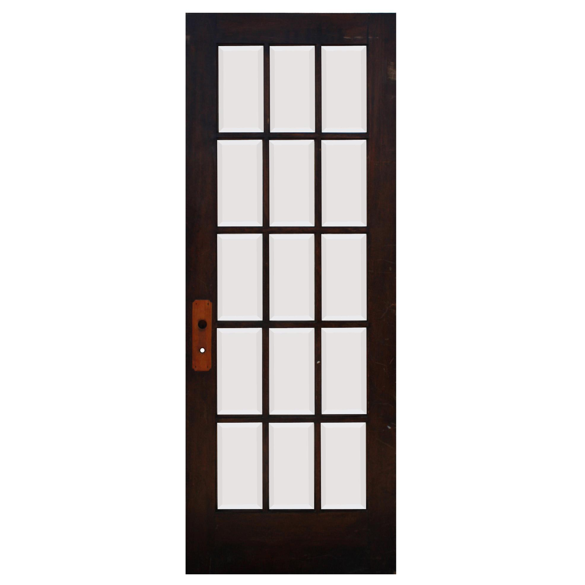 "Reclaimed 32"" Divided Light French Door, Beveled Glass"