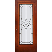 "Fabulous 34"" Reclaimed Door with Leaded and Beveled Glass"