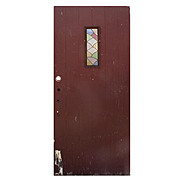 "Reclaimed Antique 36"" Plank Door with Stained Glass Window"