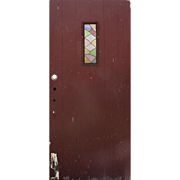 """Reclaimed Antique 36"""" Plank Door with Stained Glass Window"""