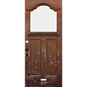 "Salvaged Antique 36"" Door with Beveled Glass and Hand-Cut Starburst Detail"