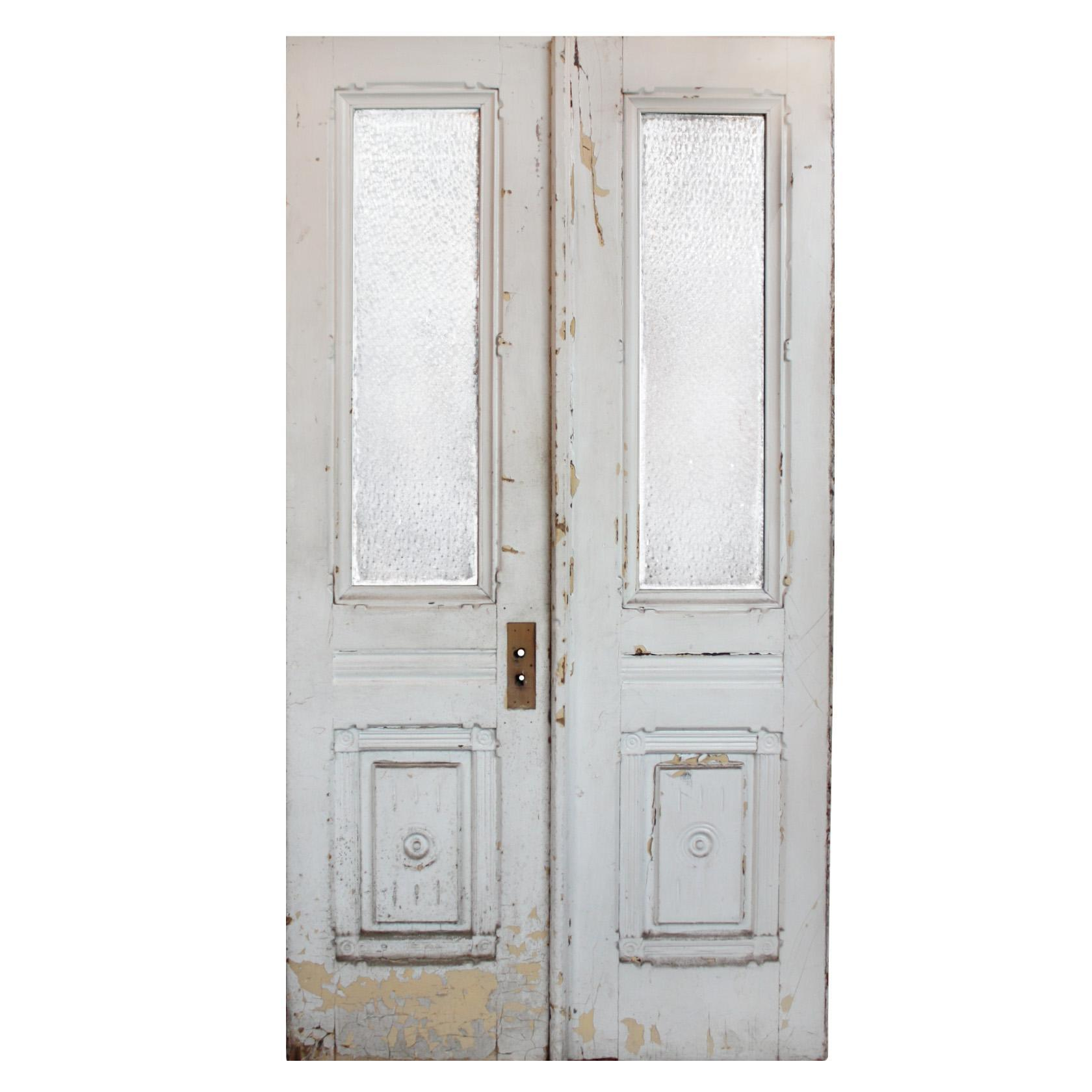 """Reclaimed Pair of 44"""" Antique Double Doors, Early 1900s"""