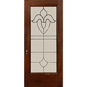 "Beautiful Antique 36"" Salvaged Mahogany Door, Leaded and Beveled Glass"