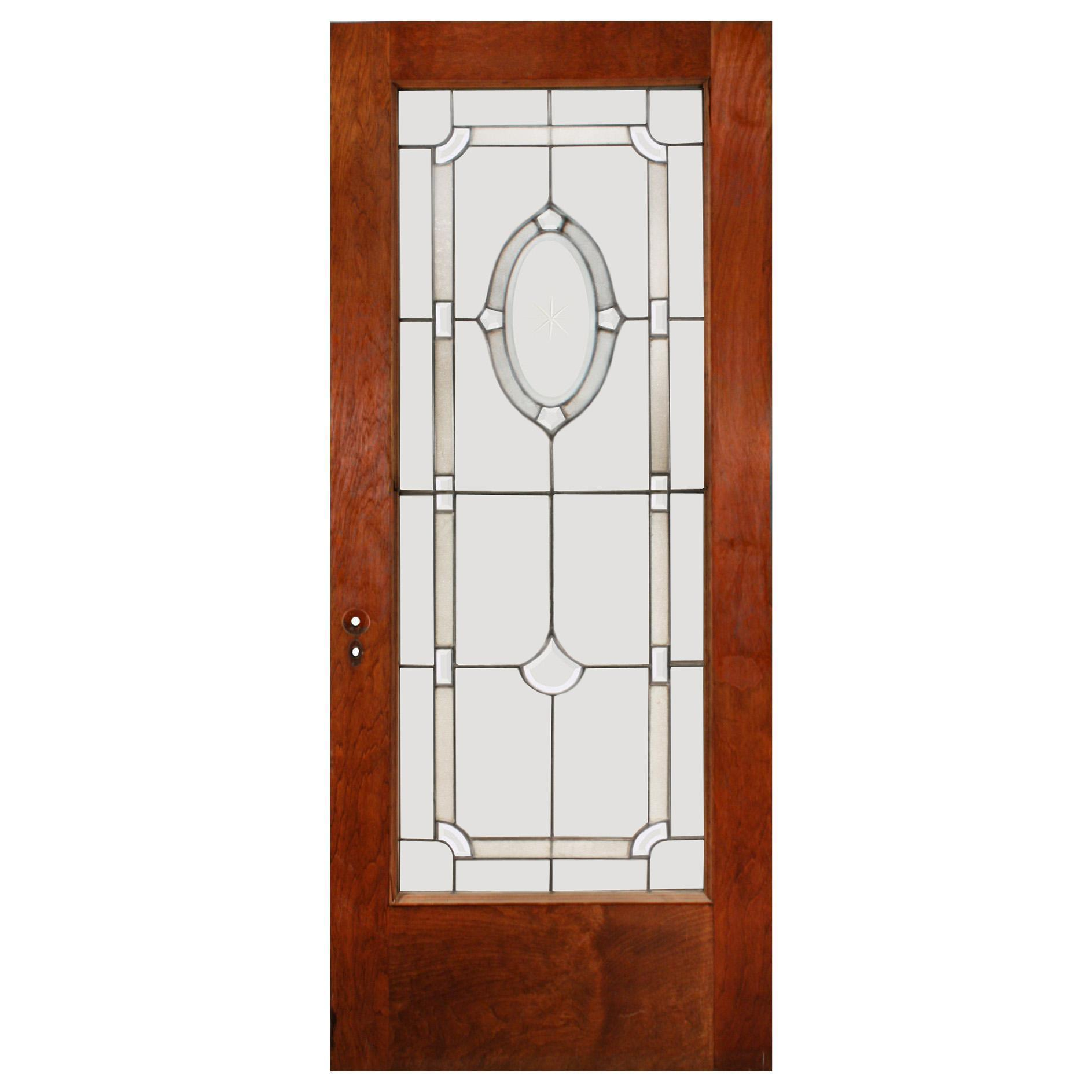"""Elegant 34"""" Reclaimed Door with Beveled Glass and Hand-Cut Star"""