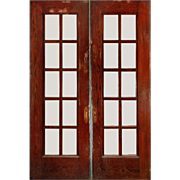 Handsome 5' Pair of Salvaged Oak French Pocket Doors