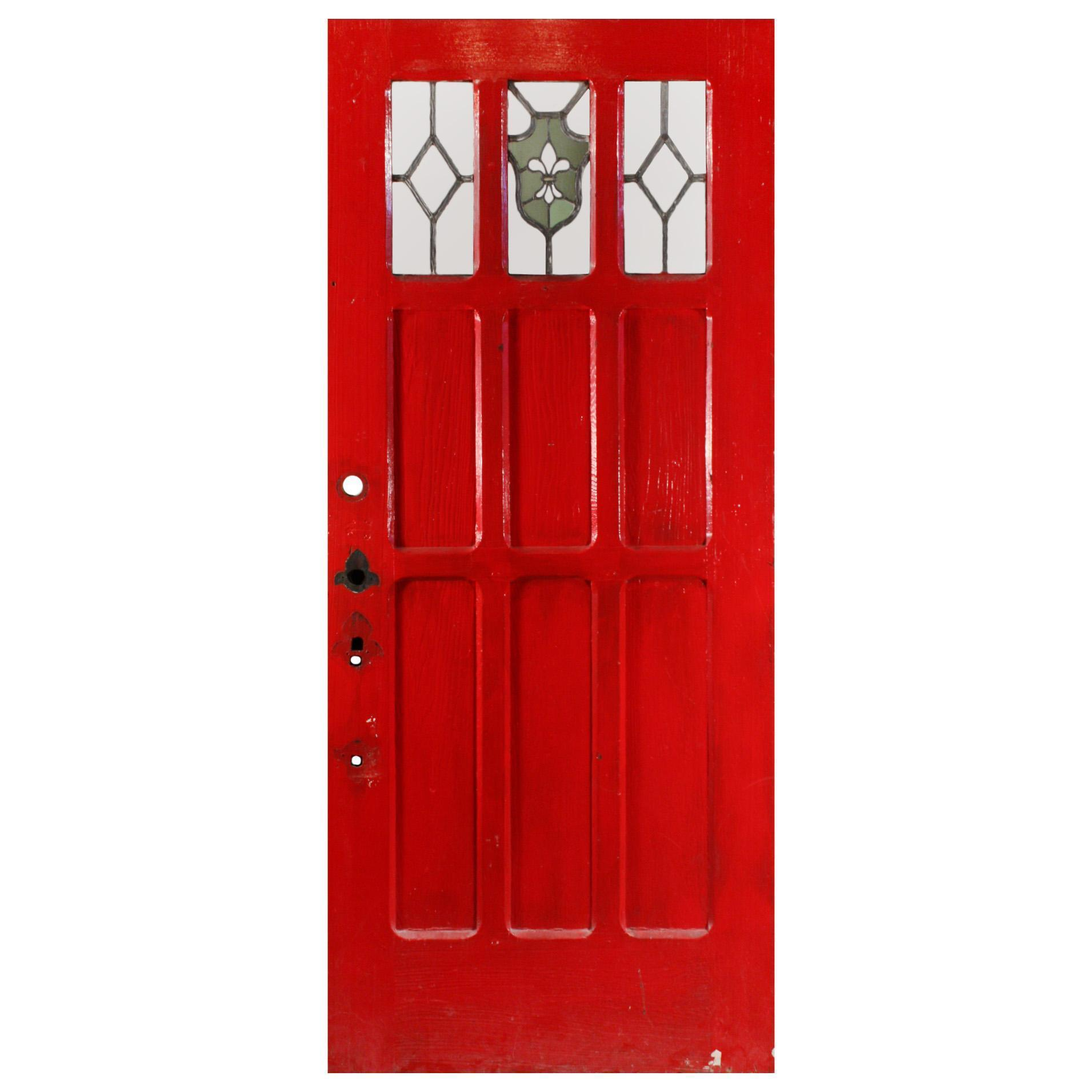 "Reclaimed 36"" Exterior Door with Stained Glass and Fleur-De-Lis"