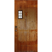 "Salvaged Antique 36"" Plank Door with Leaded Window"