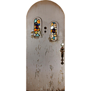 "Incredible Antique 36"" Arched Door with Stained Glass"