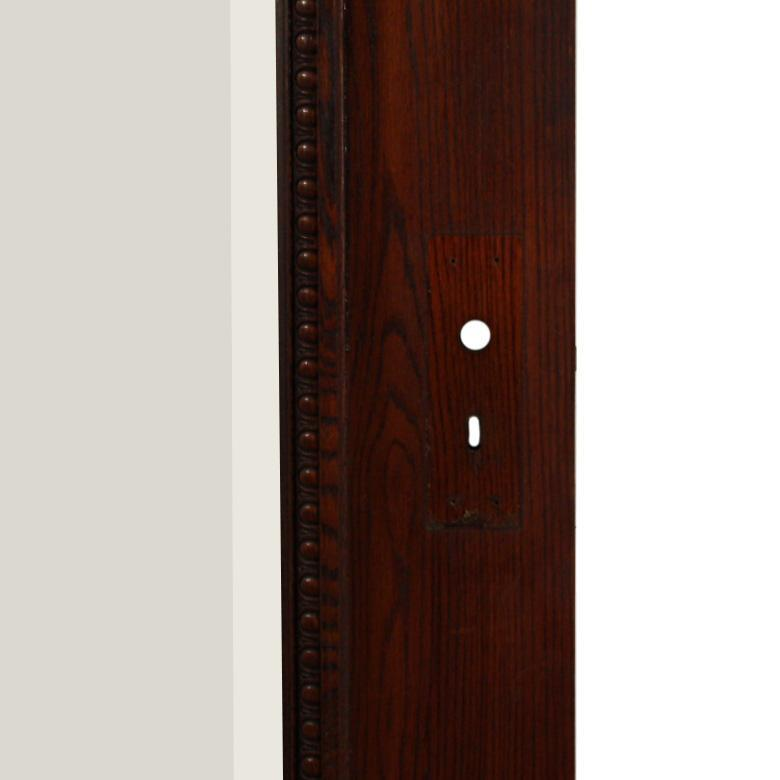 "Reclaimed Antique 36"" Oak Door with Beveled Glass, Egg-and-Dart"