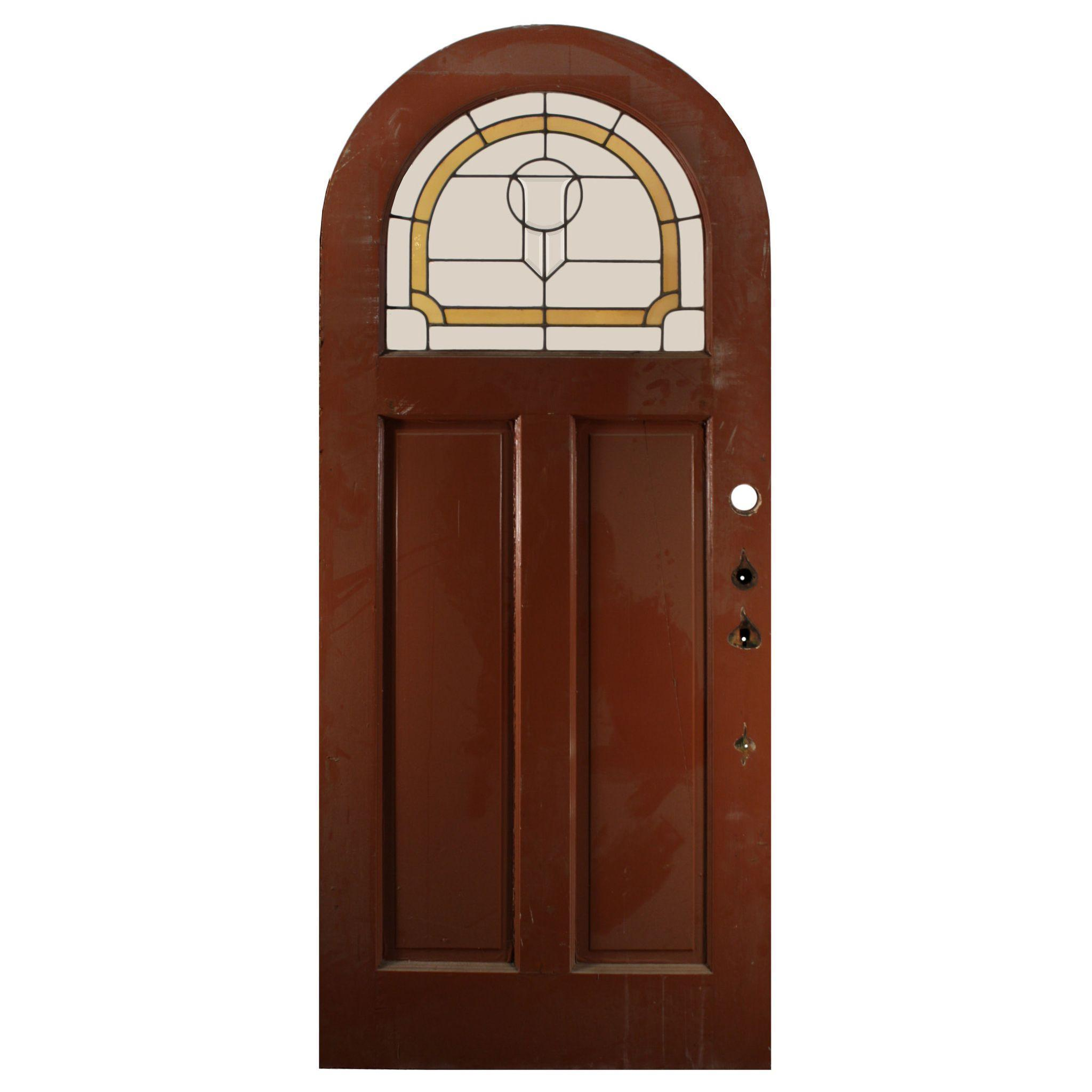 "Handsome Antique 36"" Arched Door with Stained and Leaded Glass"