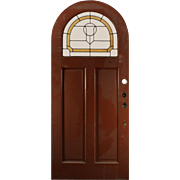 """Handsome Antique 36"""" Arched Door with Stained and Leaded Glass"""