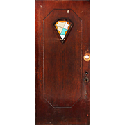 """Salvaged Art Deco 36"""" Door with Stained Glass"""