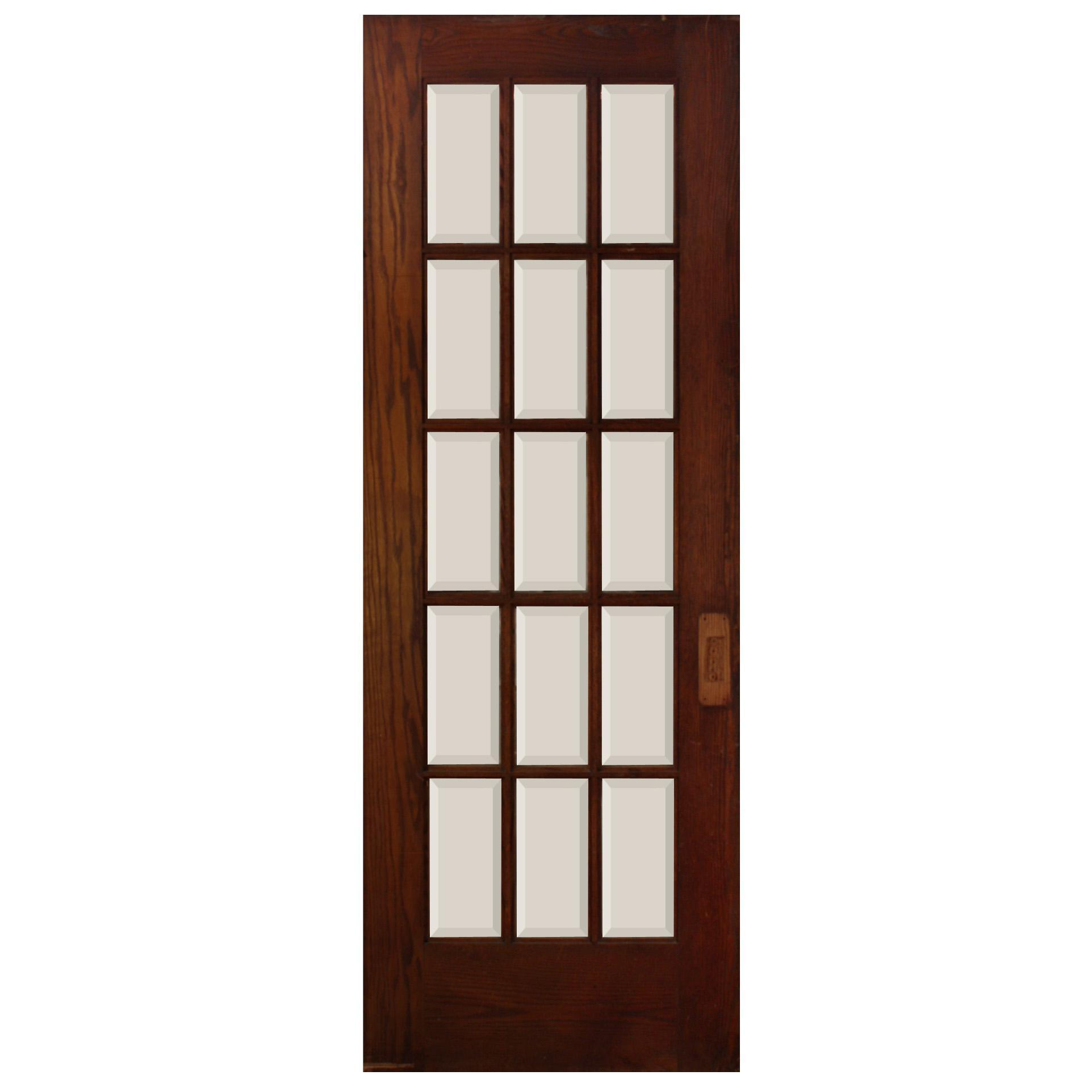 "Reclaimed 30"" Divided Light Oak Door, Beveled Glass"