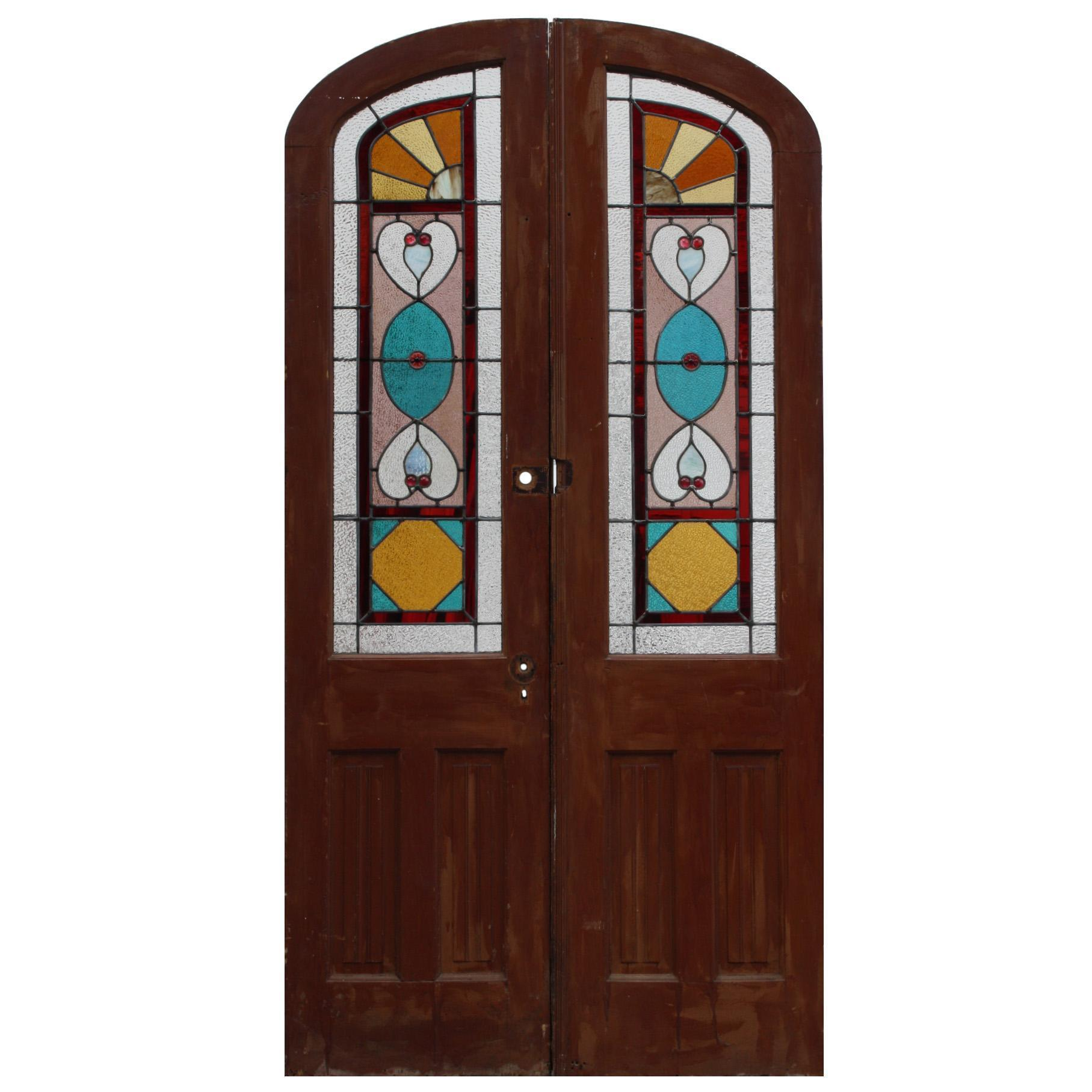 Charming Pair of Antique Doors with Jeweled Stained Glass, c. 1890