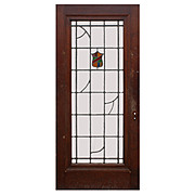 "Salvaged Antique 36"" Door with Stained Glass Shield, c.1920"