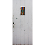 "Salvaged 36"" Plank Door with Stained Glass"