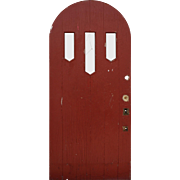 """Salvaged 36"""" Arched Plank Door, Early 1900's"""
