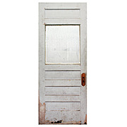 "Reclaimed 32"" Door with Privacy Glass, Early 1900s"