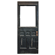 "Reclaimed 32"" Door with Carved Details, Early 1900s"