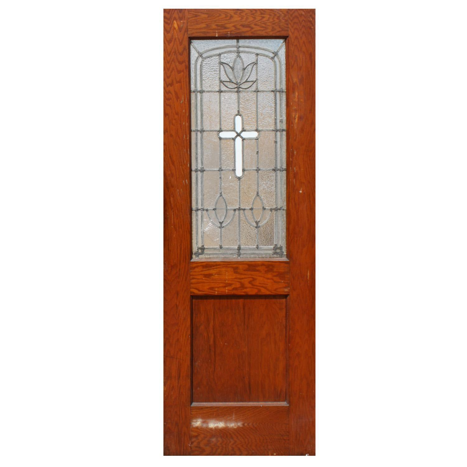 Reclaimed Antique Leaded Glass Door with Cross, Oak