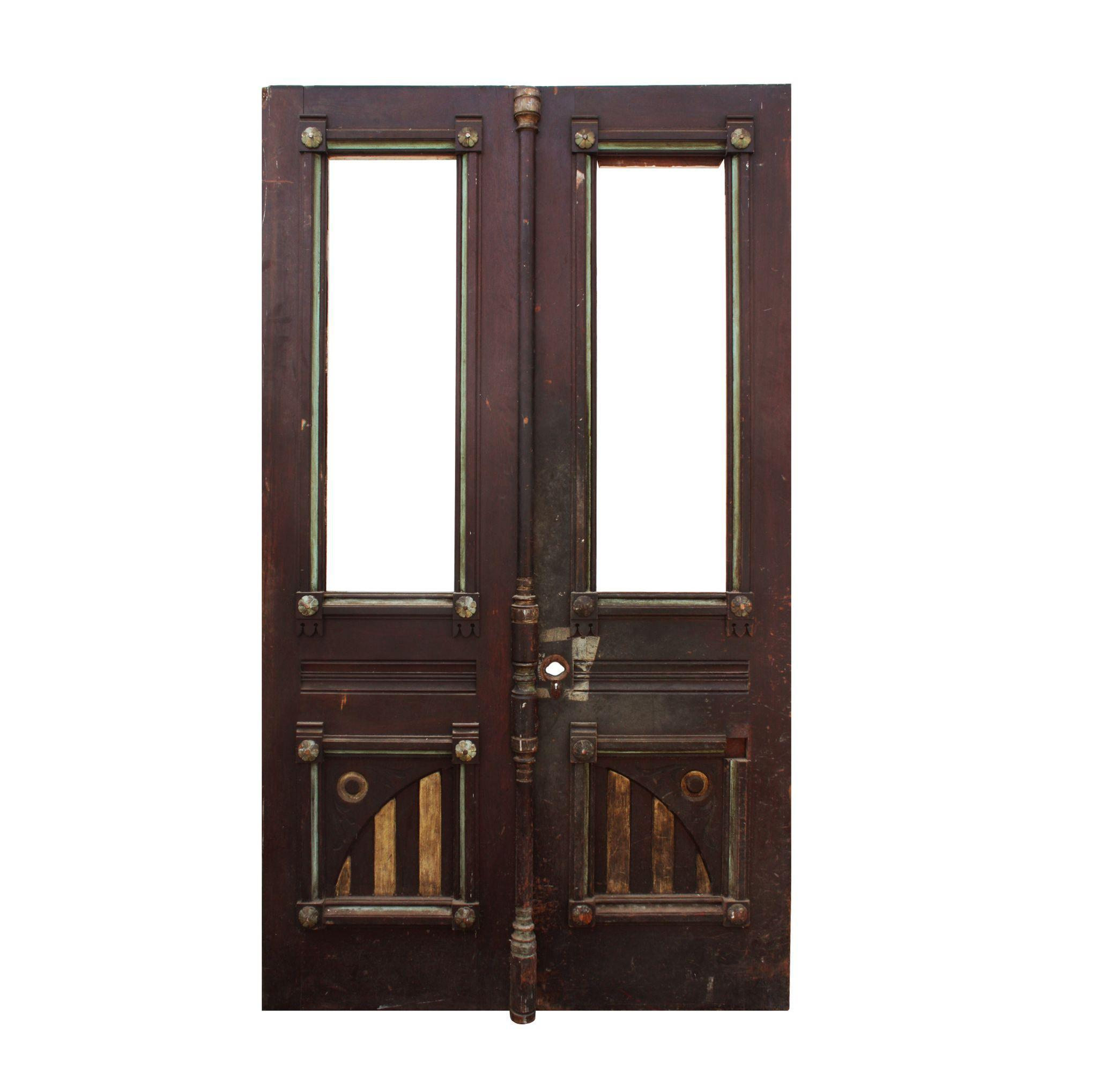 "Reclaimed 52"" Eastlake Door Pair with Carving, c.1880"