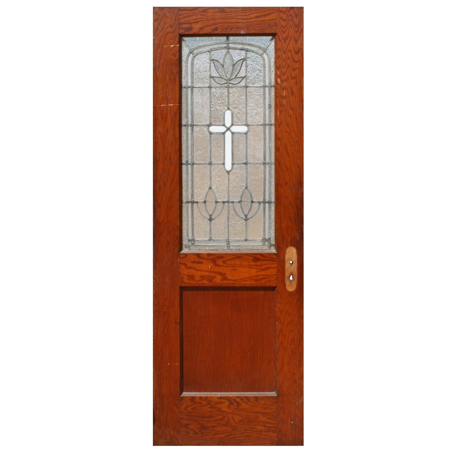 Salvaged Antique Leaded Glass Door with Cross, Oak