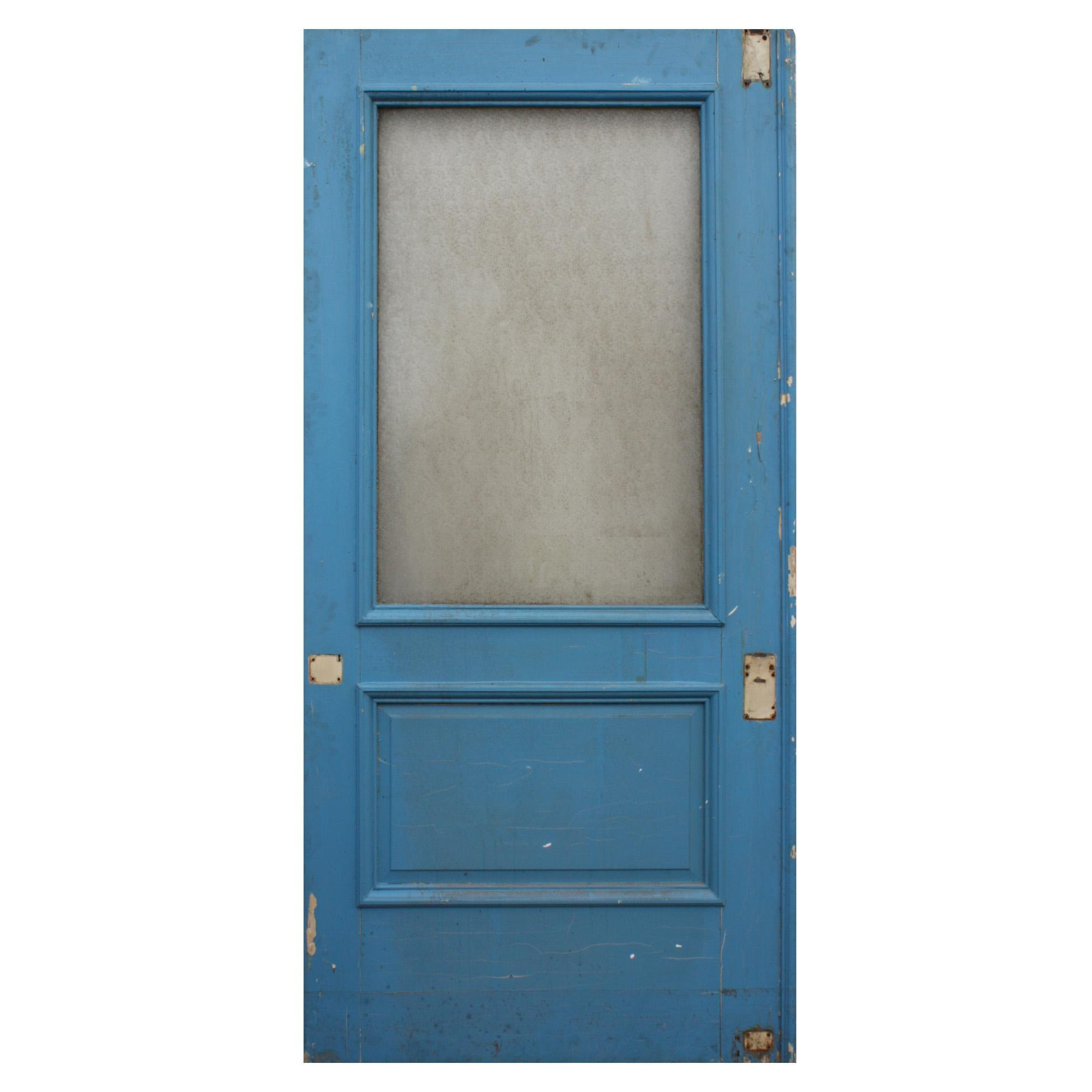 """Reclaimed 43"""" Door with Privacy Glass, Early 1900s"""