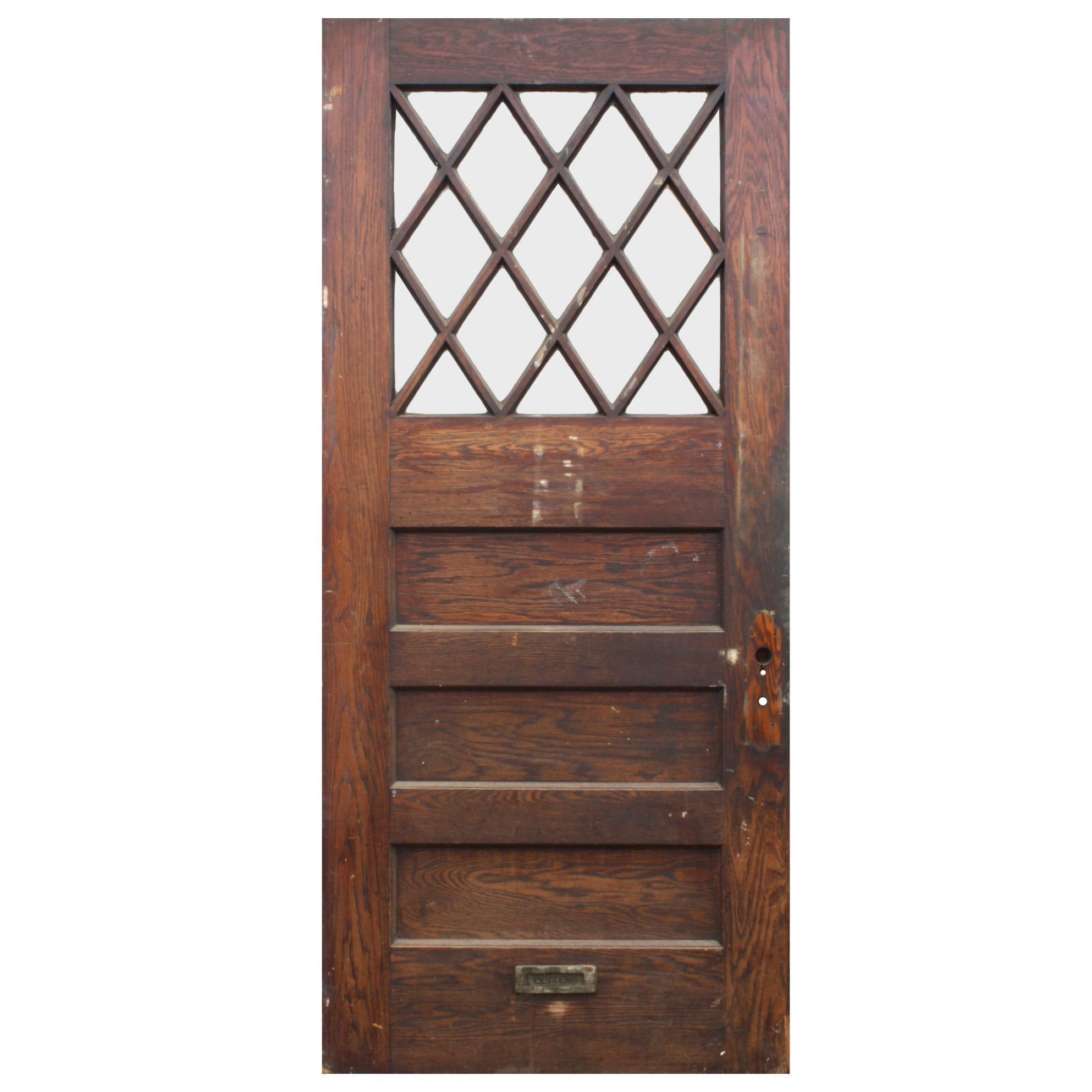 """Salvaged 40"""" Antique Oak Door, Early 1900s"""