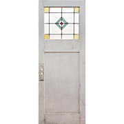 "Salvaged 30"" Door with Stained and Leaded Glass"