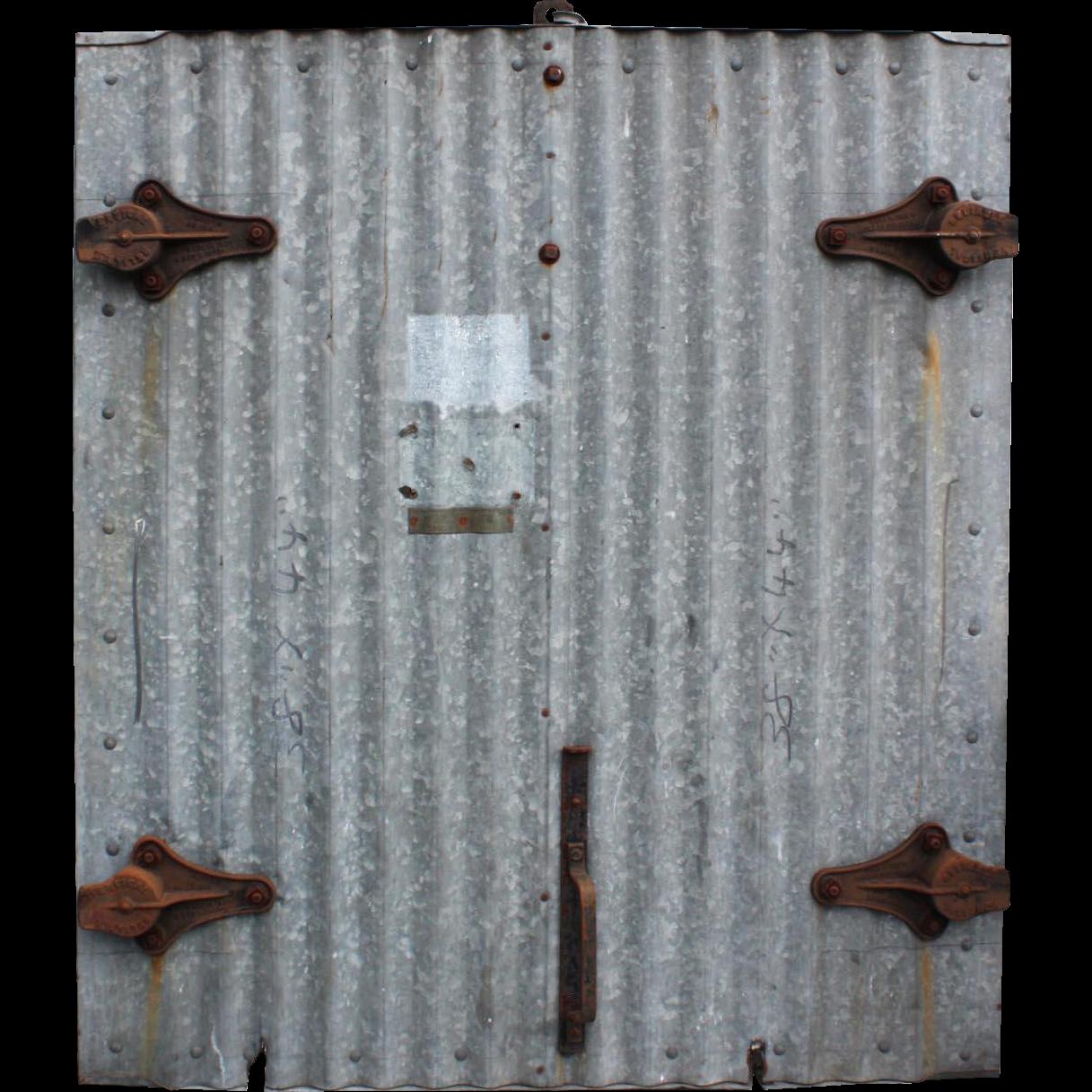 Vintage Industrial Fire Doors : Reclaimed antique industrial corrugated fire door for wall