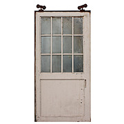 Salvaged Antique 4' Industrial Metal Door with Wire Glass
