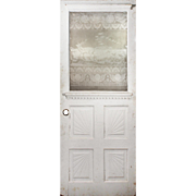 "Reclaimed 30"" Door With Figural Acid-Etched Glass, Stag"