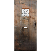 "Salvaged Antique 36"" Plank Door with Leaded Glass Window"