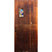 "Reclaimed 36"" Plank Door with Stained Glass"