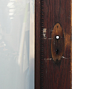 "Salvaged Antique 32"" Oak Door with Beveled Glass, Egg-and-Dart"
