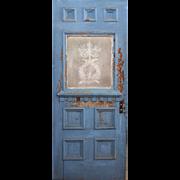 "Reclaimed 32"" Door With Figural Acid-Etched Glass, Lovebirds"